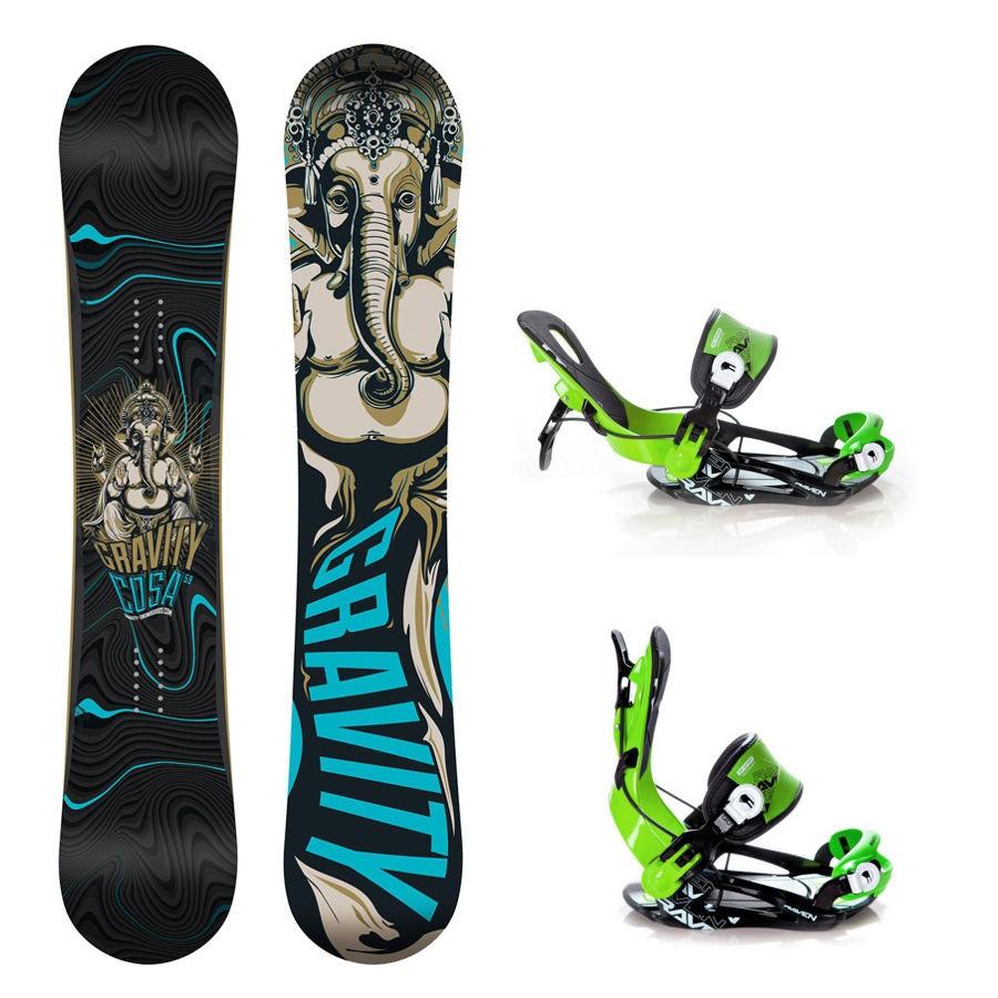 Snowboard komplet Gravity Cosa + vázání Raven Fastec