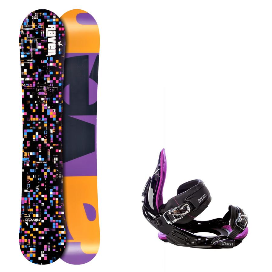 Snowboard komplet Raven Grid black+ vázání s350