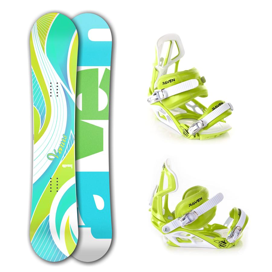 Snowboard komplet Raven Venus green/blue + vázání S750