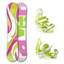 Snowboard komplet Raven Venus pink/green + vázání S750