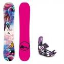 Snowboard komplet TRANS FR wood girl pink 17/18 + vázání Raven